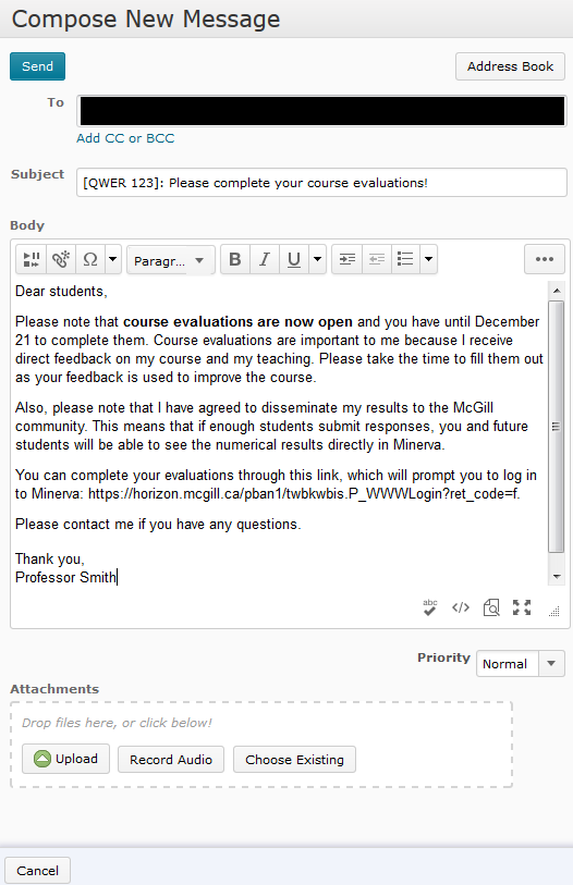 Sample email to students