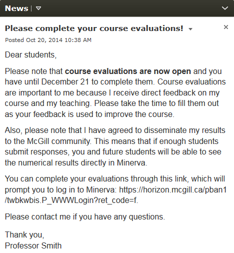 Sample news announcement to promote course evaluations