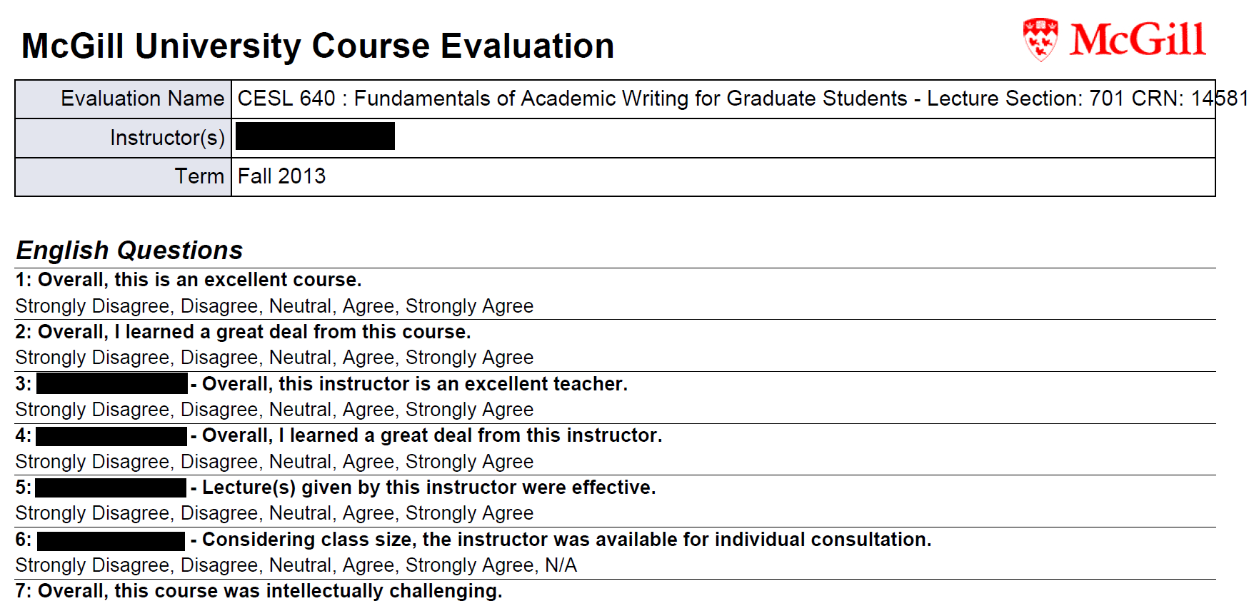 Sample printable version of evaluation