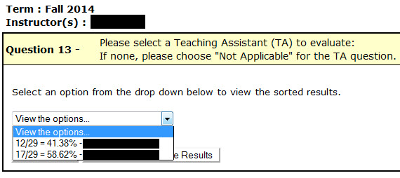 Select a TA from the drop-down menu