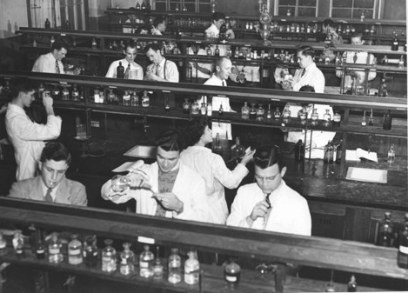 Students at work in a medical science lab, McGill University, circa 1956
