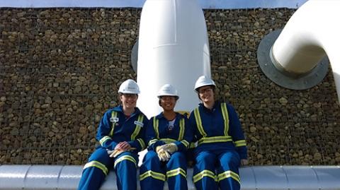 3 women in blue uniforms sitting on a pipeline