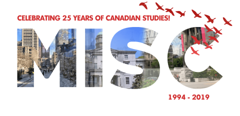 MISC logo, celebrating 25 years of Canadian studies, 1994-2019