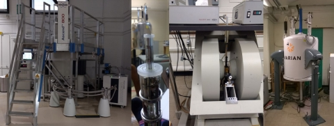 NMR and EPR instruments, including an 800 MHz NMR instrument with cryoprobe, an X band EPR and a wide-bore 400 MHz solid-state NMR.  Des instruments RMN et RPE, incluant un RMN 800 MHz avec cryosonde, une RPE bande X et une 400 MHz à grande bore.