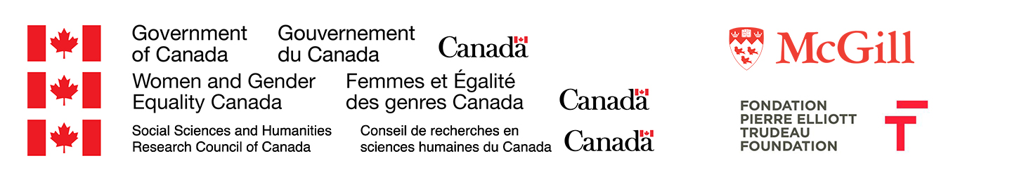 Sponsor Logos include the Government of Canada, Women And Gender Equality Canada's Women's Program, Social Sciences and Humanities Research Council, the Pierre Elliot Trudeau Foundation and McGill University