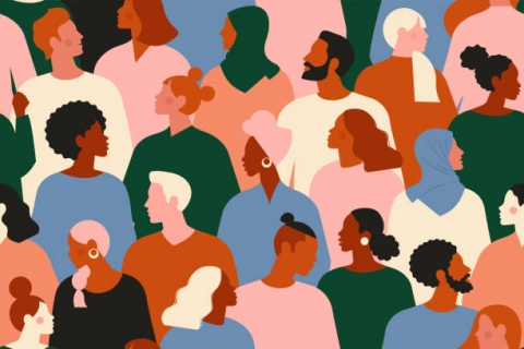 Multiple colored persons of various genders and races together as a background.