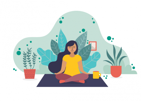 A girl with dark hair meditates on a mat, surrounded by plants.