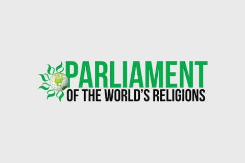 """""""Parliament of the world's religions"""" written on blank background, and a globe on the side with green petals and the word """"parliament"""" in green and above the rest of the words."""