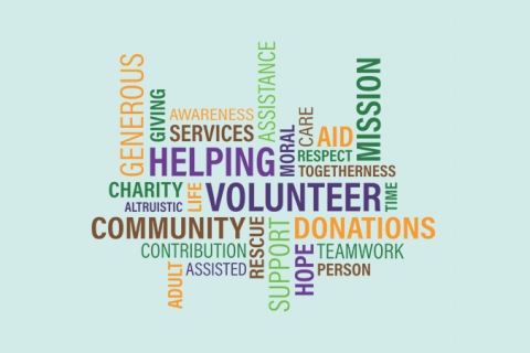 Word map with text relating to the term volunteer.