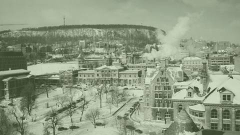 Aerial view of McGill University covered in snow during the winter months.