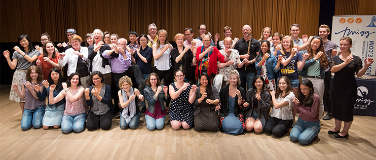 The flute studio, graduates, friends, and faculty, on Tanna stage with Jeffrey Khaner after the Cindy Shuter masterclass on Sept. 23, 2017