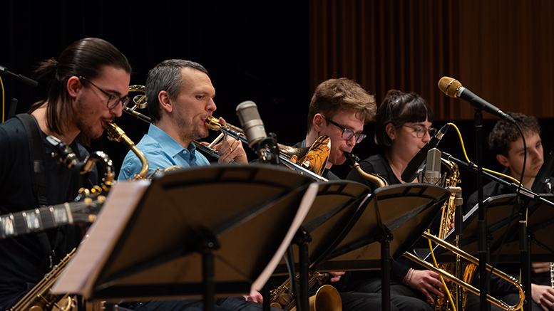 Jazz ensemble musicians in rehearsal