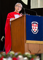 Beverley Diamond speaking at convocation ceremony