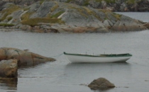 Dory on the water in Fogo, Newfoundland