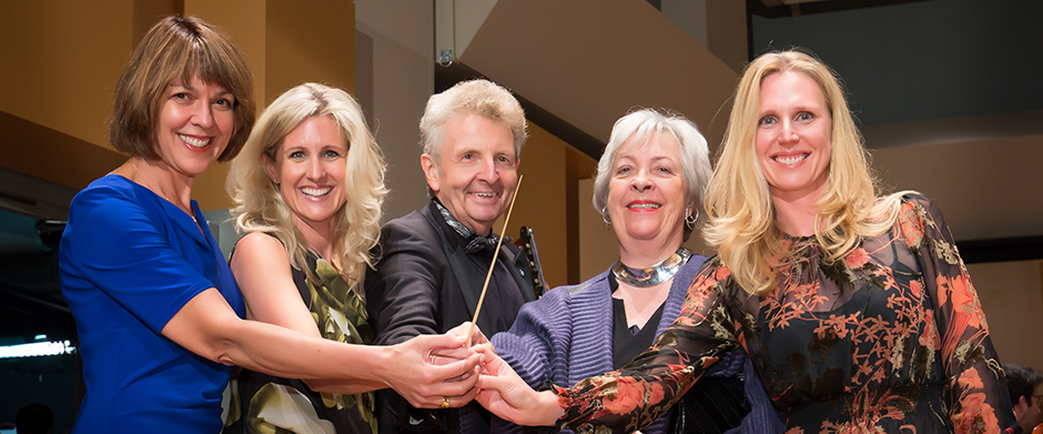 Schulich School of Music Dean Brenda Ravenscroft with Arabella Decker; Gerda Hnatyhsyn; Prof. Alexis Hauser; Ariadne Decker of the Hnatyshyn Foundation