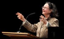 Prof. Julie Cumming giving a talk.