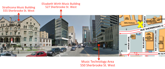 Street view of the three music buildings, on the corner of Sherbrooke St. and Aylmer St., Montreal.