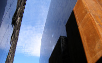 Abstract photo of the front of the Elizabeth Wirth Music Building, Schulich School of Music