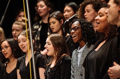 Choir musicians in concert
