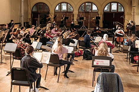 student musicians at a MGSO rehearsal in Redpath Hall