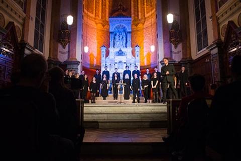 Concert choir during a performance in a church