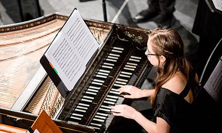 Harpsichordist playing