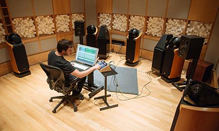 Sound engineer in lab