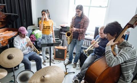 students in jazz ensemble