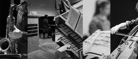 Banner image composite of musical instruments