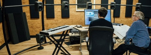 Prof. Philippe Leroux working with a student in the Digital Composition Studios, Schulich School of Music, McGill University