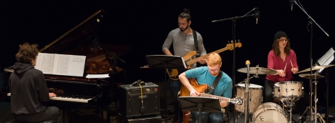 Jazz students rehearsing in Tanna Hall, at McGill University's Schulich School of Music