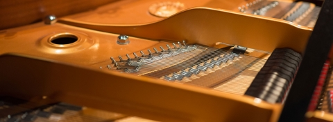 Close-up of inside of piano