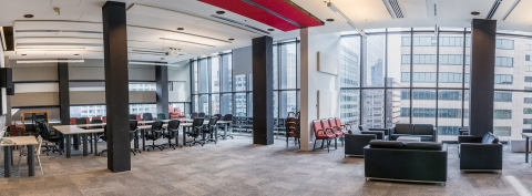 Panoramic view of conference room and lounge, Wirth Music Building, Schulich School of Music of McGill University