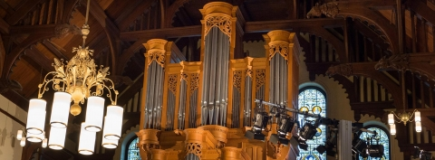 Close-up of organ in Redpath Hall, McGill University