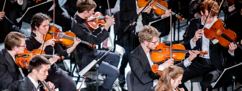 Orchestral musicians in concert