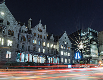 Exterior of the Schulich School of Music building at night