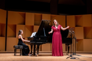 Emily Richter, soprano and Rebecca Klassen-Wiebe, piano on stage performing at the Wirth Vocal Prize Final