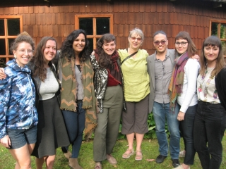 From left to right in the photo: Emilie Fortin (alumna), Carmen Bruno (cello performance), Maggie Lauer (alumna), Gabrielle Smith (music education), Lisa Lorenzino (professor), David Therrien-Brongo (alumnus), Isabelle Lavoie (alumna), and Hannah Darroch (flute performance).