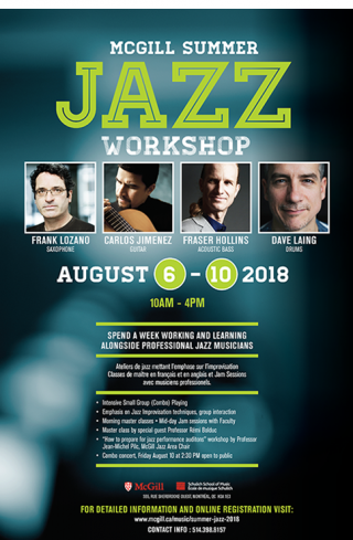 mcgill  2018 jazz summer workshop schulich school of music