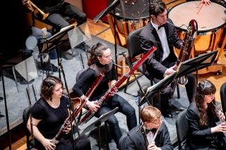 An aerial shot of the bassoon section in Pollack Hall