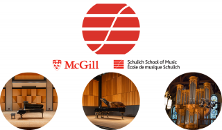 Round images of schulich logo, piano on stage at Pollack Hall, piano on stage at Tanna Schulich Hall,  and organ at Redpath Hall