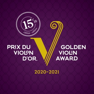 White text on purple background along with golden V logo