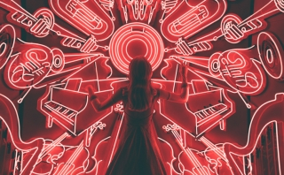 female figure in front of neon outlines of various instruments