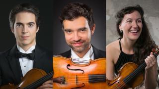 A photo collage of Victor Fournelle-Blain, Rémi Pelletier, and Yolanda Bruno