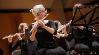 A flutist in concert