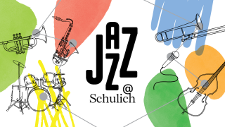 Jazz at Schulich text with  line drawings  of various instruments on a white background with some flourishes of colour