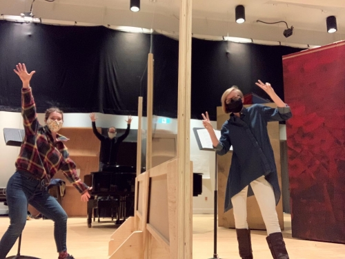Photo of a scene from Opera McGill's presentation of the Old Maid and the Thief rehearsal in Wirth Opera Studio