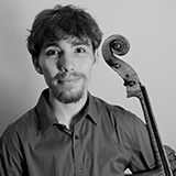 Schulich School of Music Concerto Competition Award Recipient Elie Boissinot holding cello