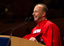 Yannick Nézet-Séguin speaking at convocation ceremony