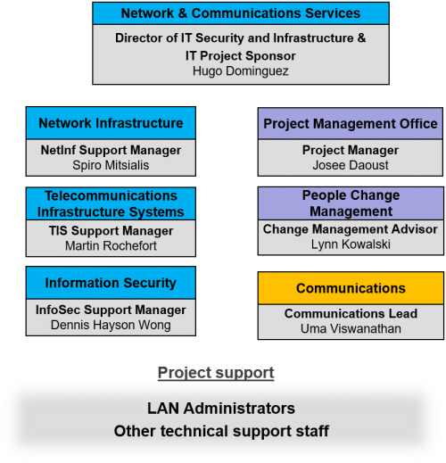 Network and Information Security Upgrade Project team structure